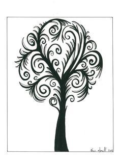 Swirly tree original black and white artwork by KarenGorrellArt, $30.00