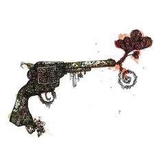 Franziska Schütz.  If Cupid's got a gun - 42 x 297 cm 2014.  Ink and watercolour on paper.  #finearts #art #kunst #abstract #drawing #arts
