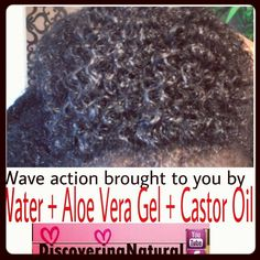 Natural Hair - waves curl definition using water, aloe vera gel, and castor oil