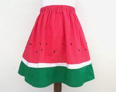 Watermelon skirt, fruit skirt, pink skirt, embroidered skirt, watermelon clothing, fruit clothing, fruit, festival, summer skirt, custom