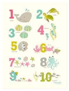 POSTER Sea & Shore Numbers 12x16 nursery art by SeaUrchinStudio