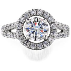 A Romantic Design of the Perfectly Cut Hearts On Fire Diamond surrounded by a Shimmering Diamond Halo on a Split Shank Diamond Band will simply take your breath away.