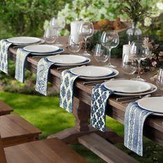 Everyday Casual Prints Assorted Cotton Fabric Napkins Set of 24 - Indigo Blue - Elrene Home Fashions Printed Napkins, Napkins Set, Cotton Napkins, Table Set Up, Casual Dinner, Dinner Table, Table Linens, Tablescapes, Fall Table Settings