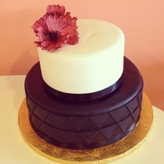 Simple modern engagement cake