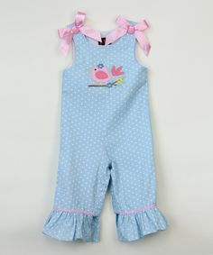 Love this Light Blue & Pink Bird Bow Playsuit - Infant & Toddler by Lil Cactus on #zulily! #zulilyfinds