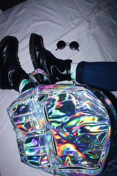 Silver Hologram Backpack with Faux Leather Boots - http://pastelgothfreak.com