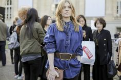 Clemence Poesy outside the fashion shows at Paris Fashion Week.  See more on nowfashion.com  #PFW #StreetStyle