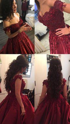 Elegant Burgundy Lace Flower Off The Shoulder Satin Prom Dresses 2018 Ball Gown Engagement Dresses For Bride #engagement #prom #burgundy