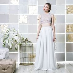 Gio Rodrigues Layia Wedding Crop-top Trousers comtemporary wedding crop-top trousers pantalona style jeweled embroidery teradrop-shaped swarovsky engaged inspiration unique gorgeous elegant bride