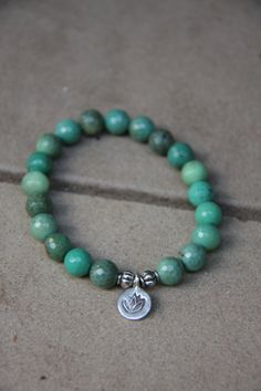 Chrysoprase Mala Bracelet with silver lotus charm- Mediation Inspired Yoga Beads