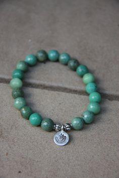 Chrysoprase Mala Bracelet with silver lotus charm- Mediation Inspired Yoga Beads