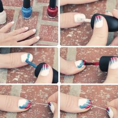 of july nails DIY Tie Dye Nails ~ Red, White, Blue Manicure Love Nails, Red Nails, How To Do Nails, Pretty Nails, Hair And Nails, Tie Dye Nails, Uñas Fashion, Fashion Beauty, Colorful Nails
