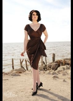 Pinup Couture Ava Dress in Chocolate