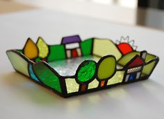 Stained glass house dish