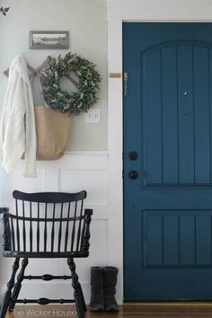 Beautiful Doors - entry door in Valspar Night Scape with craftsman trim and board and batten The Wicker House