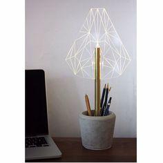 Segmented office concrete lamp / pen holder / by SturlesiDesign