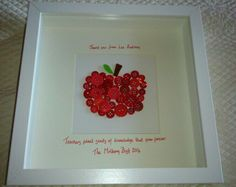 'Thank you teacher'  button apple picture. From Handmade by Nessie