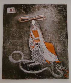 Art by Leonora Carrington. Her interpretation of the strength tarot card. Strength Tarot, Recent Discoveries, Ancient Egyptian Art, Tarot Spreads, Major Arcana, Tarot Decks, Macabre, Tarot Cards, Occult