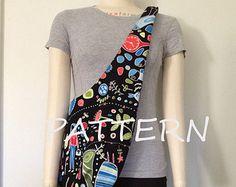 Hobo bag Pattern, reversible sling bag pattern, cross body bag pattern, slouch bag pattern, shoulder bag pattern, carryall fabric tote