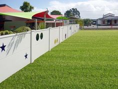 Variety of shapes cut into Vogue panels at a childcare centre.