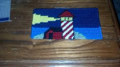 Lighthouse plastic canvas checkbook cover
