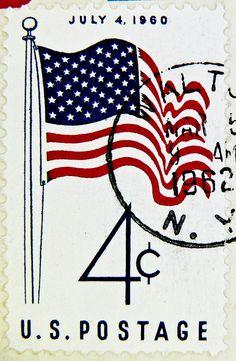 stamp USA 4c United States of America us flag July 4. 1960