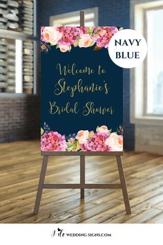 Bridal Shower Welcome Sign In Navy Blush And Gold Accented