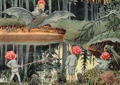 Set of 5 new single different postcards by Elsa Beskow, boy, bear, girl, batcute