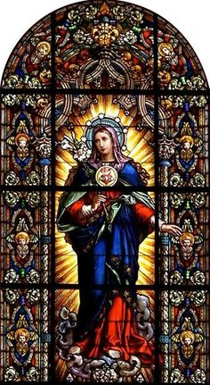 ~ Living a Beautiful Life ~ Stained glass window of the VIrgin Mary Religious Pictures, Religious Icons, Religious Art, Stained Glass Church, Stained Glass Art, Stained Glass Windows, Church Windows, Mary And Jesus, Holy Mary