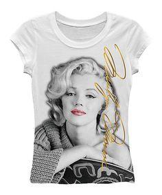 White Casual Marilyn Monroe Tee - Women