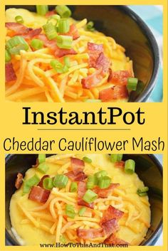 Is it soup? Or is it #cauliflower mash?  That depends on you! This #ketosidedish recipe can be made both ways simply by adding chicken stock for soup.  #cauliflowerrecipes are a huge staple in the #ketodiet.  This loaded cauliflower mash recipe has bacon, green onion and lots of cheddar cheese! #cheese #mashed #ketodinner #lowcarb #loaded #bacon #cheddar #kidfriendly #kidfriendlyrecipes #easymealprep #easydinner #recipes