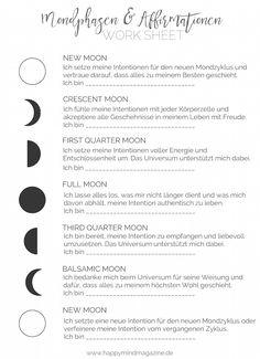 Du willst die verschiedenen Mondphasen mit Affirmationen begleiten? Mit diesem Worksheet verlierst du nicht den Überblick!