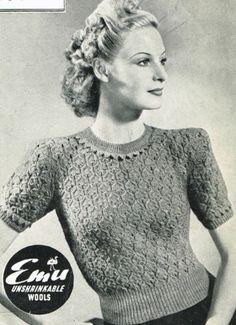 Vintage 1940s knitting pattern-ladies pretty lace stitch jumper -free uk postage | eBay