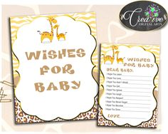 WISHES FOR BABY giraffe baby shower activity advice, gender neutral shower theme printable, Digital Files Jpg Pdf, instant download - sa001 #babyshowergames #babyshower