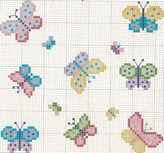 Handicrafts: Butterfly cross stitch patterns with embroidery Butterfly Cross Stitch, Mini Cross Stitch, Simple Cross Stitch, Cross Stitch Animals, Cross Stitch Flowers, Easy Cross, Cross Stitching, Cross Stitch Embroidery, Embroidery Patterns