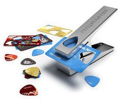 Turn unwanted plastic into a guitar pick with the Pickmaster Plectrum Punch.