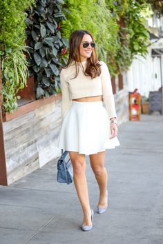 White Circle Skirt and Beige Top, Perfect Spring Look via @KathleenCBL