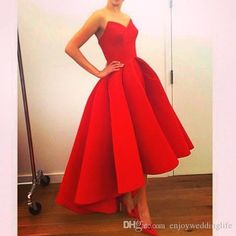 2015 Vintage Hi Lo Evening Dresses With Sweetheart Neck Tea Length Puffy Skirt Ball Gown Satin Unique Red Prom Gowns Bo7561 Online Women Clothing Sexy Dresses Cheap From Enjoyweddinglife, $104.53| Dhgate.Com