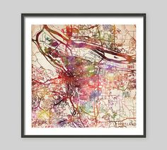 PORTLAND Map, Oregon, Watercolor painting, Old paper, Giclee Fine Art, Modern Abstract, Poster Print, Wall Art, Home Decor, Decoration