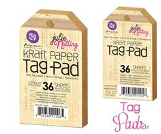 kraft tag pads available in mini 2 x 3.5 inches and not-quite-mini 2.5 x 4.25 inch