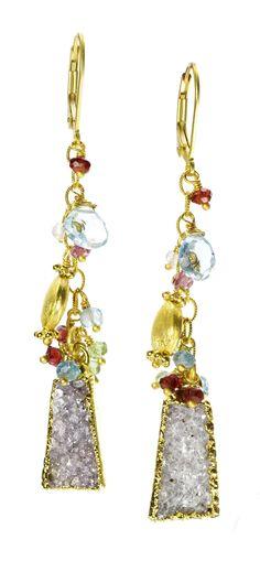 Bombay White Druzy Gold Earrings
