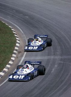 1977 Brazilian Grand Prix, Interlagos : Patrick Depailler (Tyrrell chased by his teammate Ronnie Peterson during early laps of the race (ph: www. F1 Racing, Road Racing, Sport Cars, Race Cars, Nascar, F1 Wallpaper Hd, Wallpapers, Sport En France, Up Auto