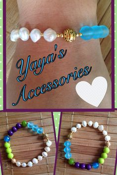 Pulsera con perlas de agua dulce, ágatas, jades, beads de cristal y bead de metal dorada