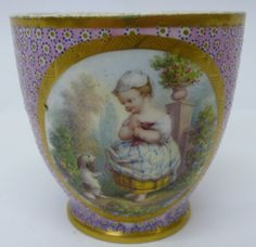 A child's tea bowl from the Sevres porcelain tea service commissioned by Antonia Duchess of Roxton, especially for tea parties with her grandchildren. AUTUMN DUCHESS