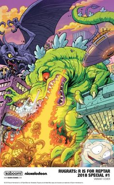 Reptar (looking very much like Godzilla) in this varient cover for RUGRATS.