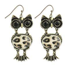 Antiqued Gold Owl Earrings