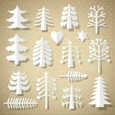 Free Vector illustration of Various different Christmas Tree Paper Cutting Merry Christmas Greetings Decoration design elements Christmas Tree Design, Different Christmas Trees, Cool Christmas Trees, Christmas Background, Christmas Time, Christmas Crafts, Christmas Decorations, Holiday Decor, Vector Christmas