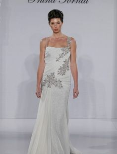 Pnina Tornai - Asymmetric Sheath Gown in Chiffon-like the rouching