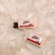 Boucles d'oreille puces barre chocolatée en fimo