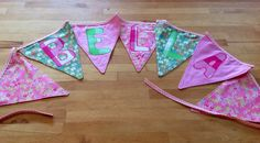 Name bunting, £2 per flag with named applique and cute binding across the top